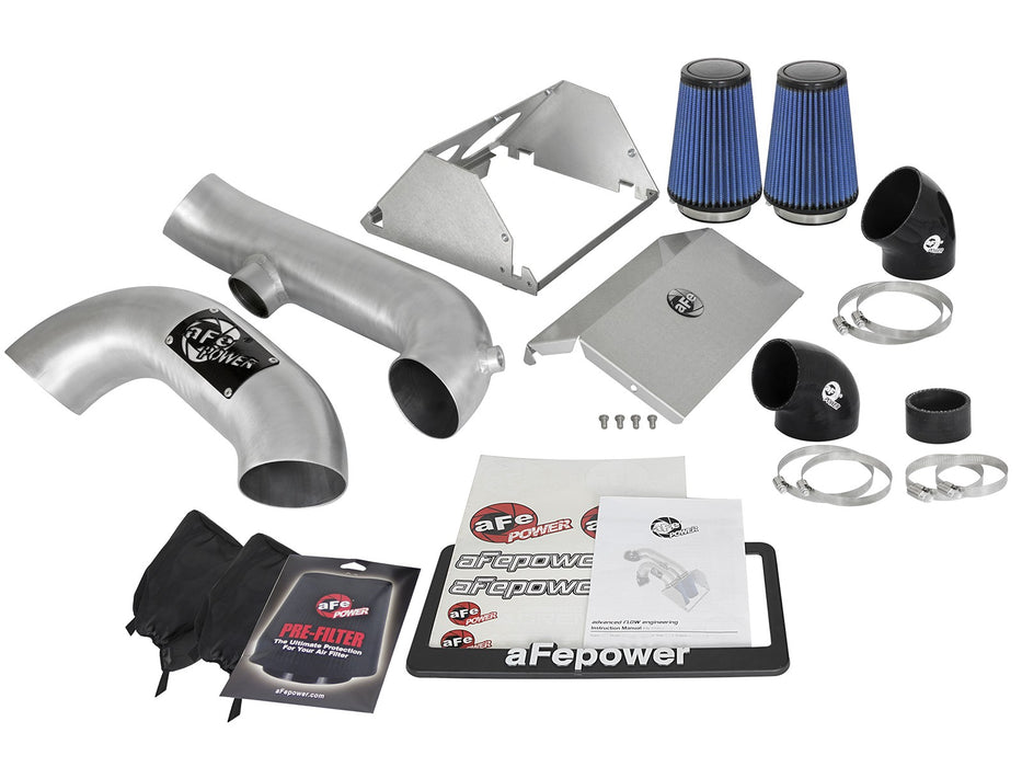 "aFe - 54-12882-H - F150 Brushed Aluminum Magnum FORCE Dual 3.5"" Stage-2 ""Super Raptor"" Cold Air Intake System EcoBoost 2.7L/3.5L (17-19)"