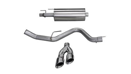 Corsa Performance - 14836 - F150 Cat-Back Single Side Exit w/ Dual Tips EcoBoost 2.7L/3.5L (15-19)
