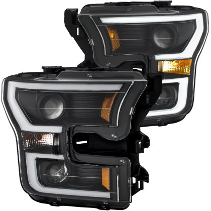 Anzo USA - 111357 - F150 Projector Headlights w/ Plank Style Switchback Black w/ Amber (15-17)