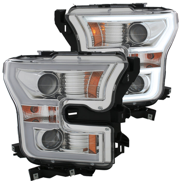 Anzo USA - 111348 - F150 Projector Headlights w/ Plank Style Design Chrome w/ Amber (15-17)