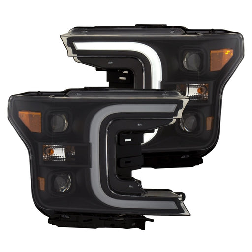Anzo USA - 11400 - F150 Ford F-150 LED Projector Headlights w/ Plank Style Switchback Black w/ Amber (18-19)