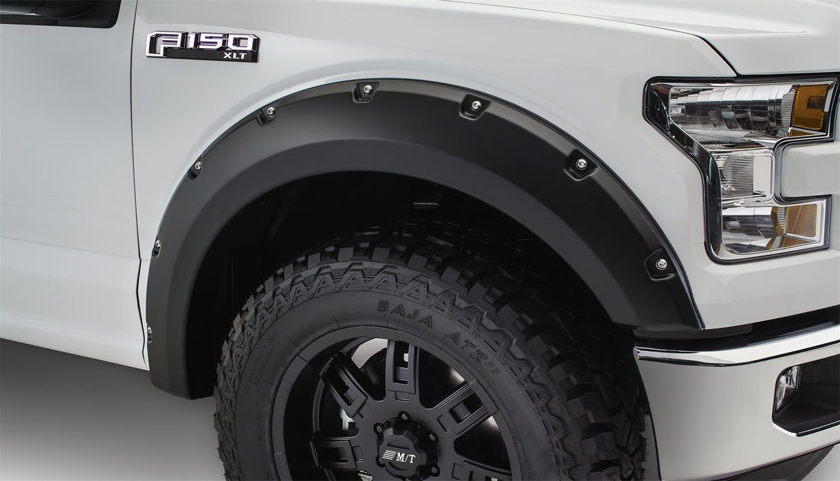 Bushwacker - 20091-02 - F-150 Pocket Style Fender Flares Black Smooth 2pc Front (15-17)