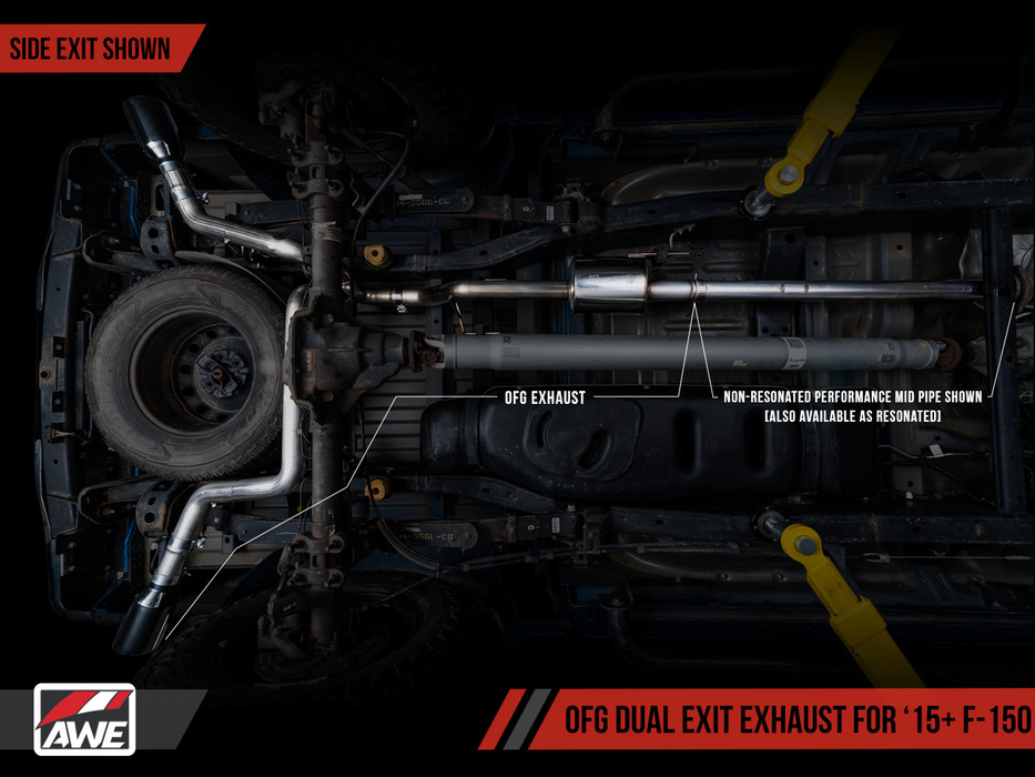 AWE Tuning - 3020-11026 - F150 Non-Resonated Performance Mid Pipe EcoBoost 2.7L/3.5L (15-19)