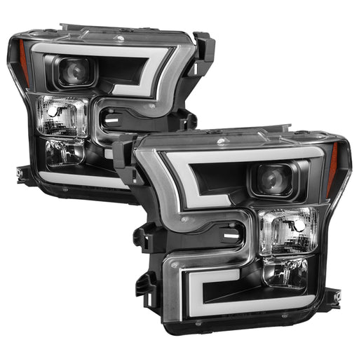 Spyder - 5083531 - Ford F150 Projector Headlights w/ Light Bar DRL LED - Black (15-17)