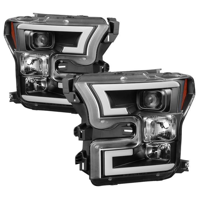 Spyder - 5083531 - Ford F150 Projector Headlights w/ Light Bar DRL LED Black (15-17)