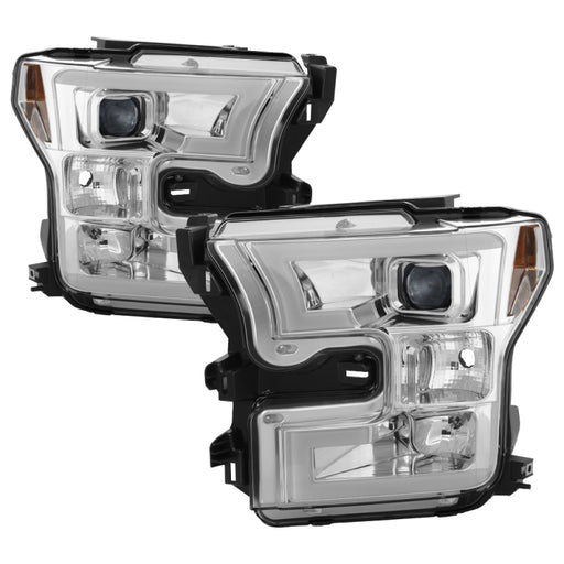 Spyder - 5083661 - Ford F-150 Projector Headlights Light Bar DRL LED - Chrome (15-17)