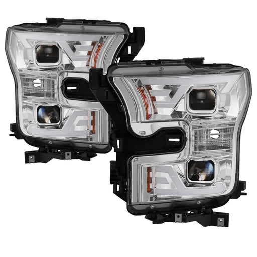 Spyder - 9042959 - Ford F-150 DRL LED Light Bar Projector Headlights - Chrome (15-17)