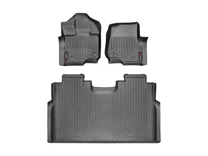 WeatherTech - 44697-1-2 - F-150 Front and Rear FloorLiners - Black (SuperCrew / SuperCab 15-19)