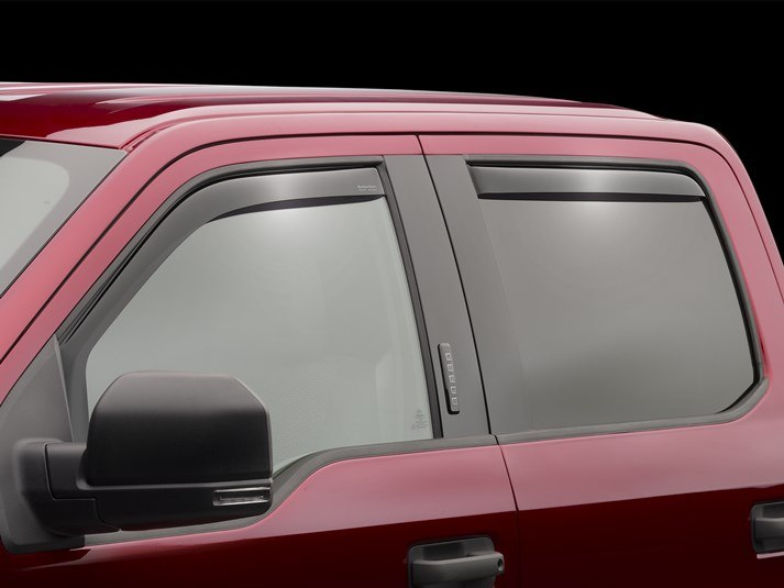 WeatherTech - 84765 - F150 Front Rear Side Window Deflectors Dark Smoke SuperCab (15-19)
