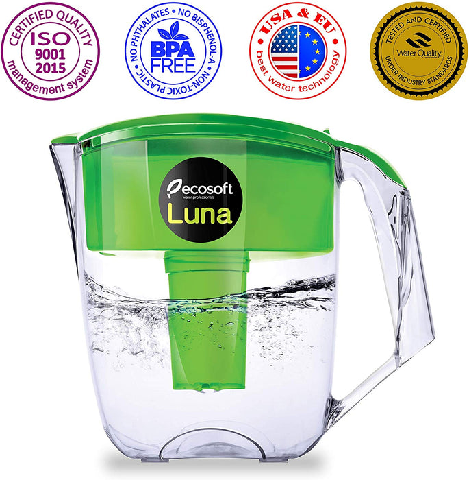 ECOSOFT LUNA PITCHER WITH 4-PACK REPLACEMENT FILTER SET