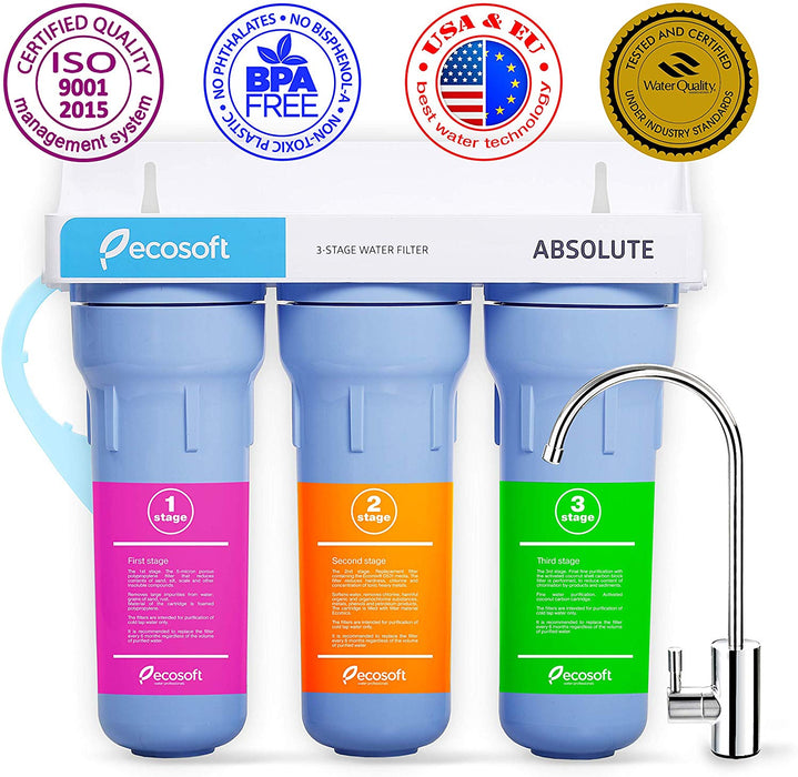 Ecosoft 3 Stage Under Sink Water Purifier Filtration System with Kitchen Faucet and Extra Filter Cartridge - BLUE