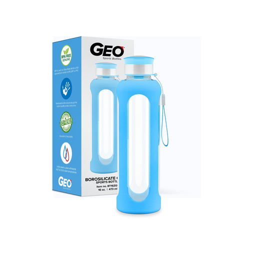 16 Ounce Glass Water Bottle, Sports Bottle, with Protective Sleeve, GEO