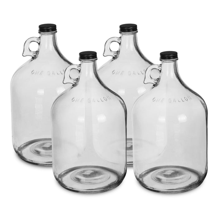 Geo 1 Gallon Clear Glass Bottles (4-Pack)