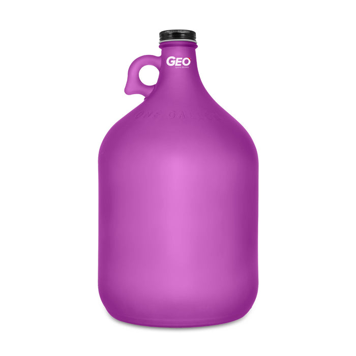 Geo 1 Gallon Frosted Glass Bottles (4-Pack)