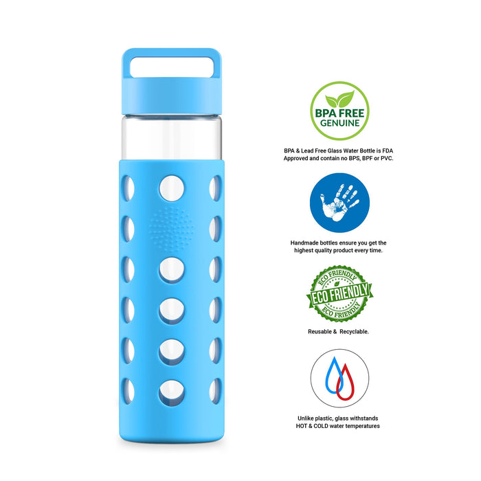 24 Ounce Glass Water Bottle, Sports Bottle, with Cover Sleeve, GEO