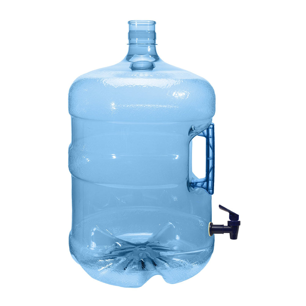 5 Gallon PET Plastic Reusable Water Bottle Container Jug with Crown Cap and Valve - Made in USA