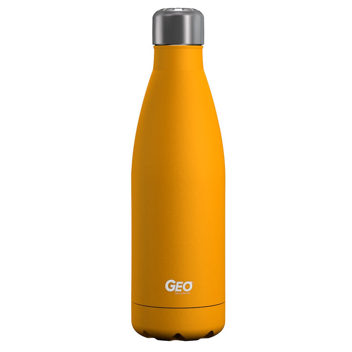 17 ounce Stainless Steel Water Bottle, Powdered Sports Bottle, with 38 mm Steel Cap, GEO