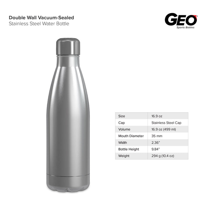 17 Ounce Stainless Steel Water Bottle, Sports Bottle, Slim, with Double Wall, GEO