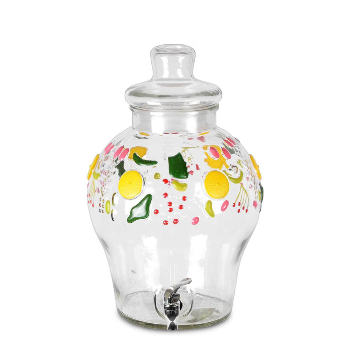3 Gallon Glass Beverage Dispenser, with Fruit Design and Chrome Valve