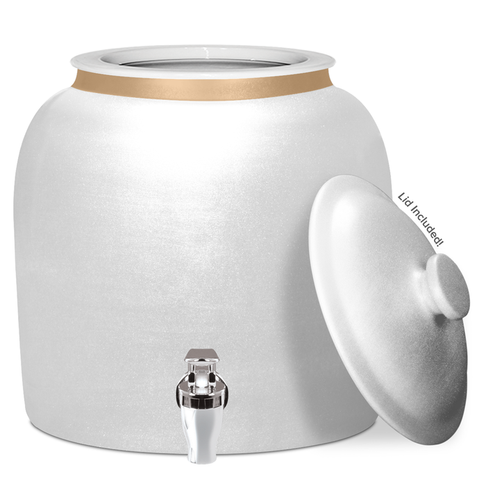 Polished Porcelain Water Crock with Chrome Faucet