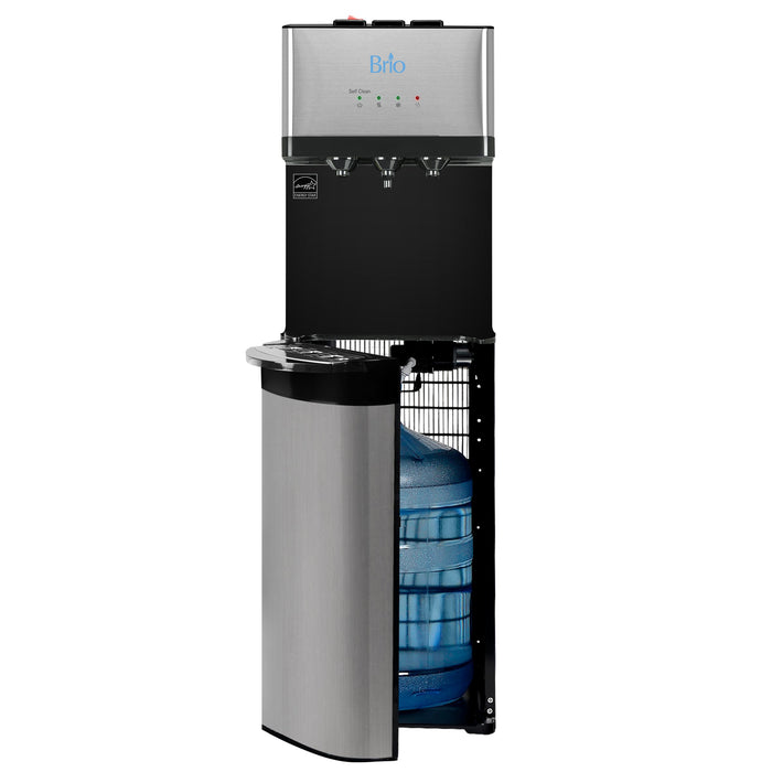 Brio Essential, Tri-Temp, Bottom-Load Water Cooler, Black & Brush Stainless-Steel