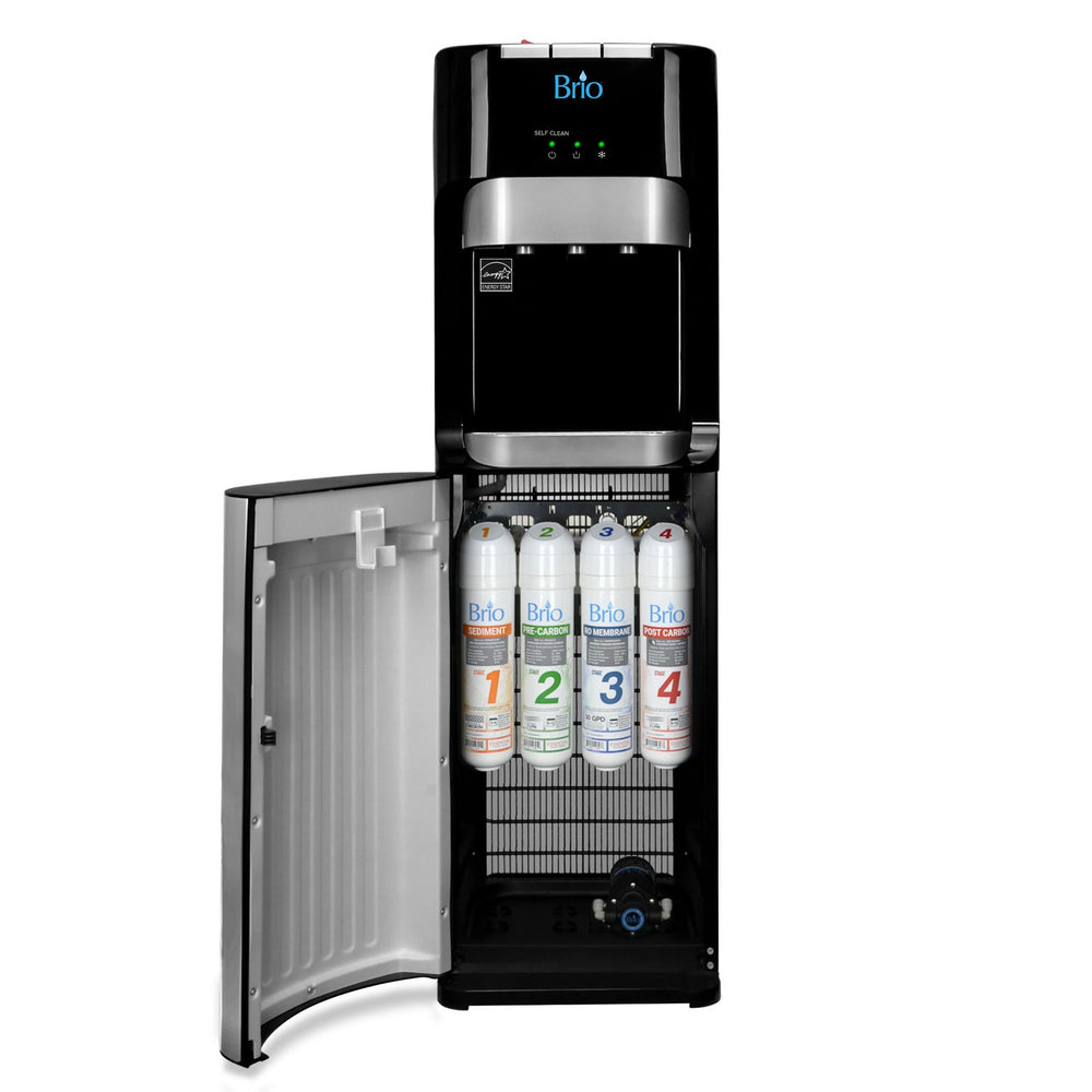 Hot Cold and Room Temp Filtered Water Dispenser Cooler POU, Tri Temp, Black and Brush Stainless Steel, Brio Essential