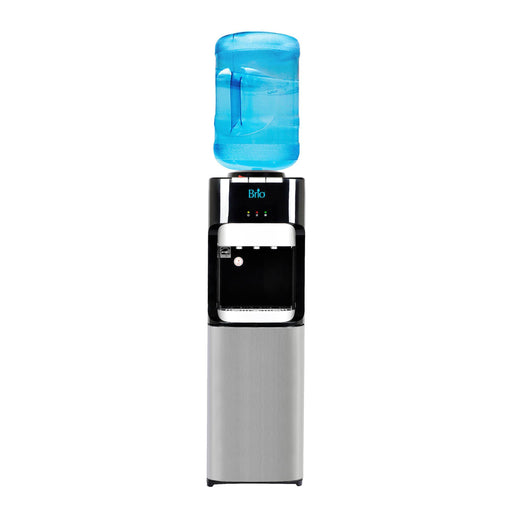 Hot Cold and Room Temp Water Dispenser Cooler Top Load, Tri Temp, Black and Stainless Steel, Brio Essential