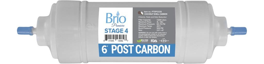 "Brio Premier 6"" Inline Straight-Type Coconut Shell G.A.C Filter 5 Micron"