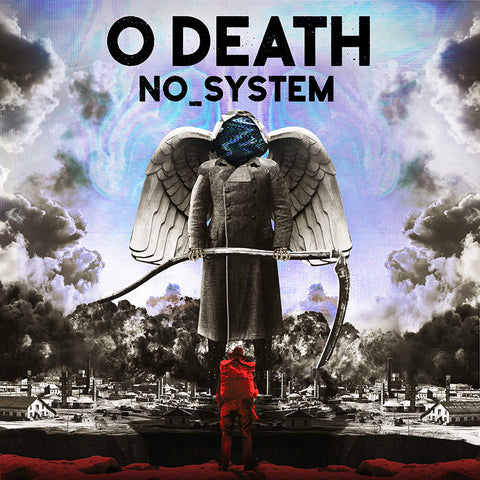 O Death cover art. A man stands at a chasm and looks across at a giant death carrying a scythe