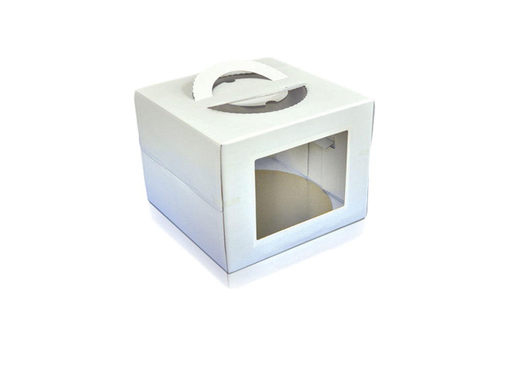 "Tall cake box with clear windows - 12.8"" - White 