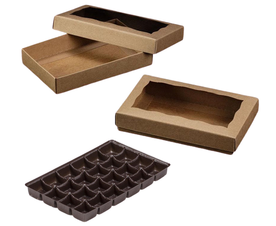 Candy box with tray - Kraft