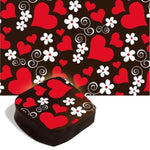 Chocolate Transfer Sheet with red hearts and white flowers | Transfer para chocolate com coracoes vermelhos e flores brancas