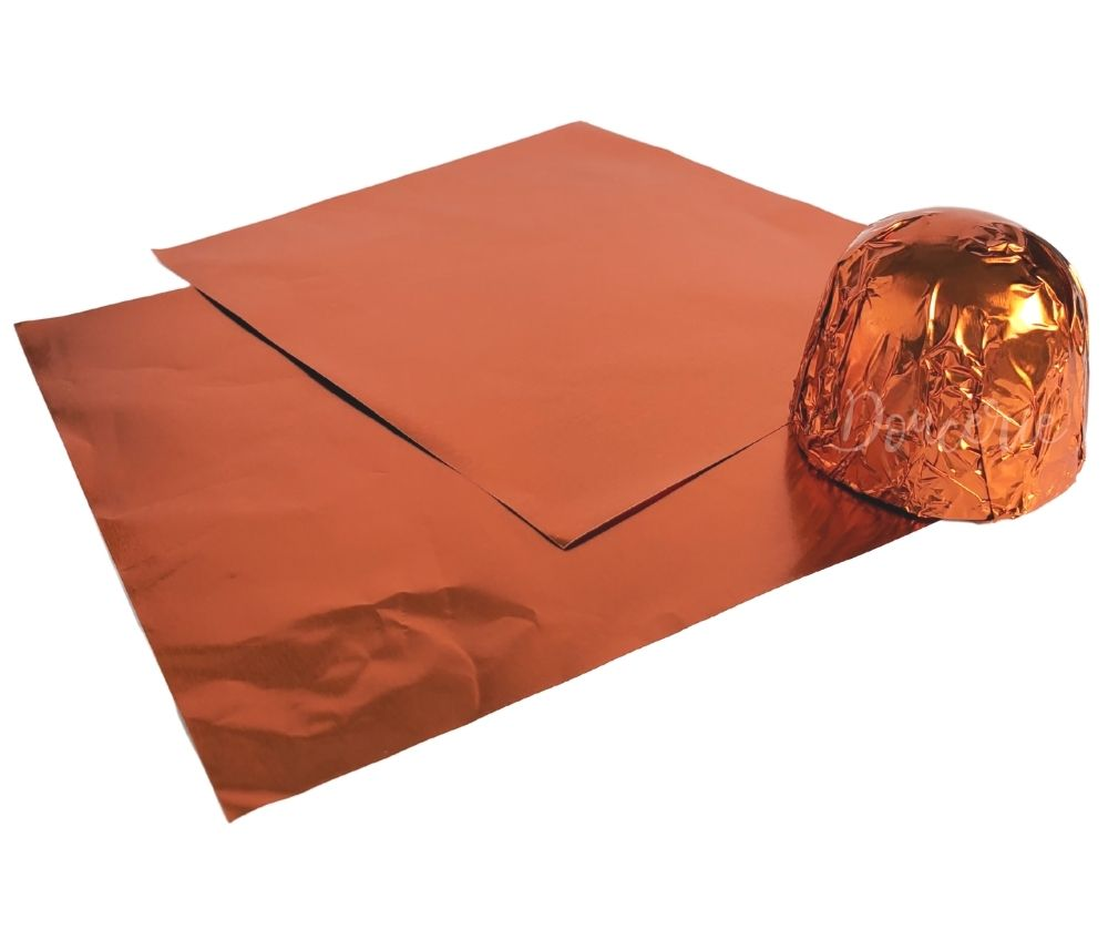 Confectionery Candy Chocolate Foil Wrapper - COOPER ORANGE - Papel Chumbo para Bombom - LARANJA | Doucerie Canada