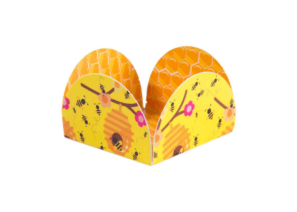 Four Petals Truffle Holder - Bumble bee - Forminha para doces - Decora Doces - Abelhinha