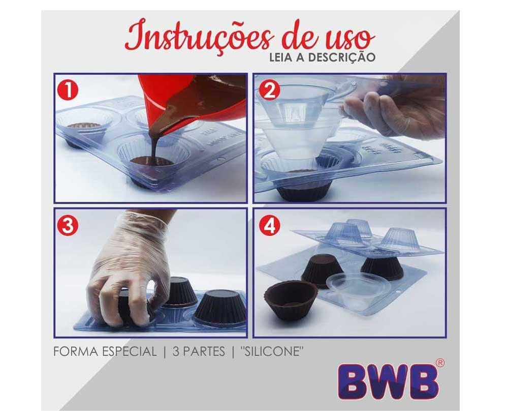 3 piece chocolate mold - Heart cup | BWB 240