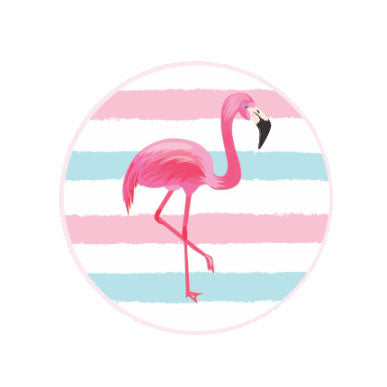 Round stickers - Flamingo theme - 42 pcs | Duster Festas