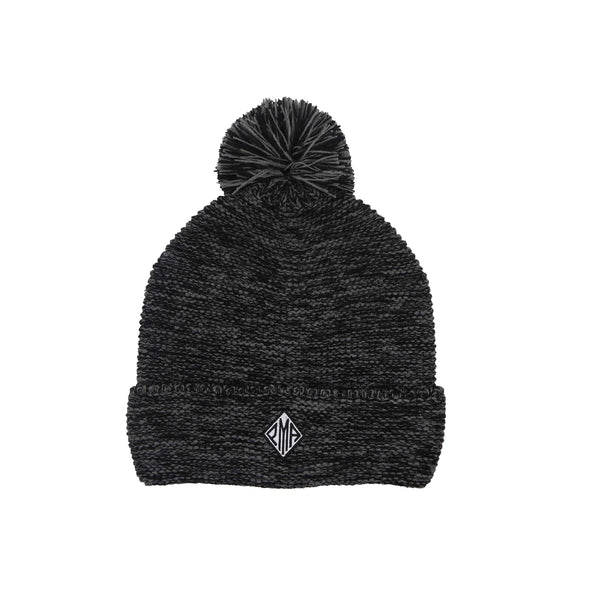 PMA Heather Black Pom Pom Beanie