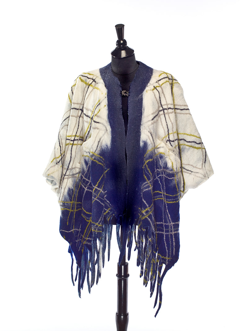 Blue Fringed Poncho