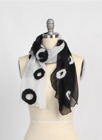 Holey, Black & Grey Merino Scarf