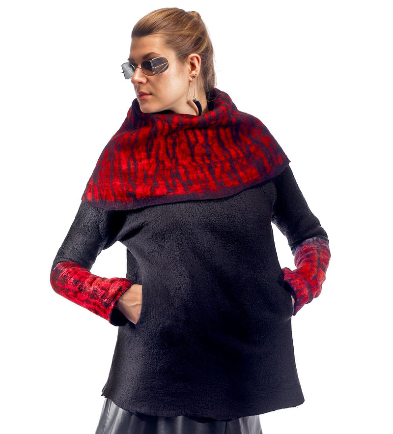 Shibori Cowl, black and red