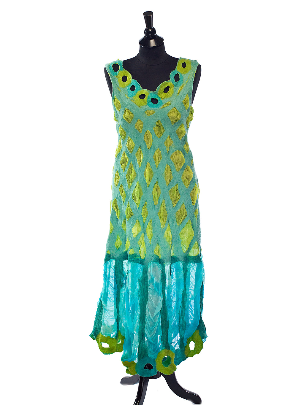 Turquoise + Lime Holey dress