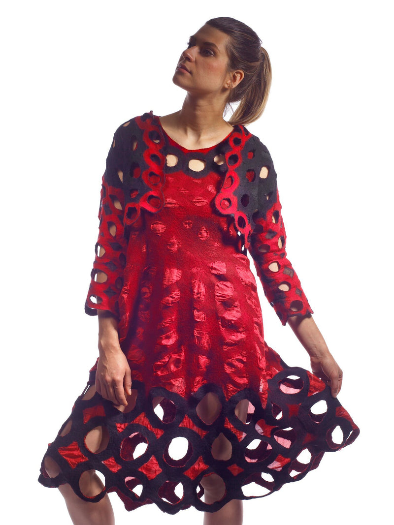 Red Holey dress with Shrug (shrug sold separately)