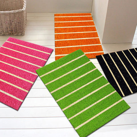 Black - Vertical stripes coir doormat