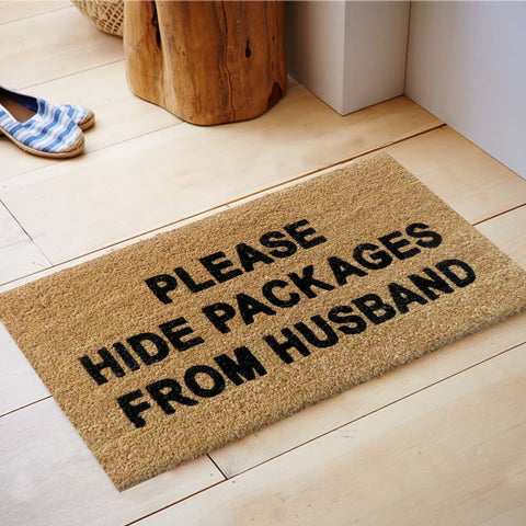 Hide packages from husband mat