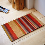 Multicoloured stripes coir doormat