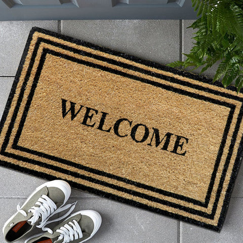 Welcome border coir door mat