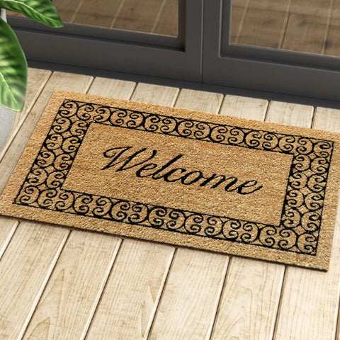 Scroll border welcome coir door mat