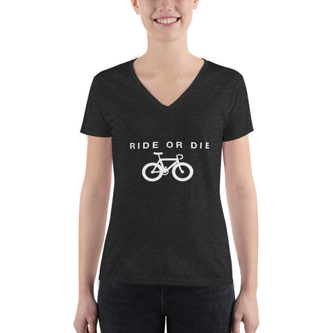 """Ride Or Die"" Women's Deep V-neck Graphic Tee"