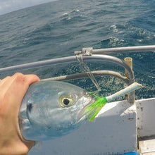 Load image into Gallery viewer, Blue runner fish caught while drift fishing offshore with Katchmore Lure's Sidewinder Jig in green using whip jigging technique