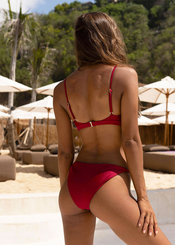 Marbella Bikini Bottom - Bordeaux - Laara Swim Sustainable Swimwear